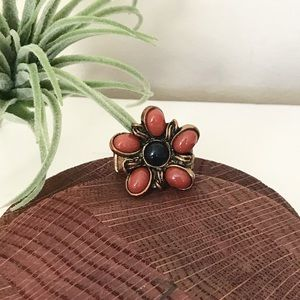 Bronze Stretchy Flower Ring